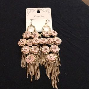 Pink floral fabric earrings